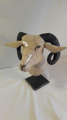Sculpture céramique raku | Marine Teplitxky Pottery Animals, Ceramic Animals, Clay Animals, Raku Pottery, Pottery Sculpture, Sculptures Céramiques, Sculpture Art, Goat Art, Ceramic Mask