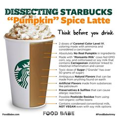 Food Babe calls out Starbucks for using nostalgia, the Fall season and fancy marketing to sell us harmful chemical filled Pumpkin Spiced Lattes. Read more: http://foodbabe.com/2014/08/25/starbucks-pumpkin-spice-latte and Take action: http://gmoinside.org/starbucks #GMOs #GMODairy #WTStarbucks #Starbucks #StopMonsanto #PSL #pumpkinspicelatte