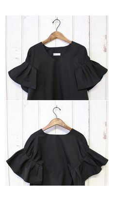 Vネック フリルスリーブトップス/2カラー Shirt Blouses, T Shirt, Mom Outfits, Sport Casual, Shirts For Girls, Bell Sleeve Top, Sewing, Knitting, My Style