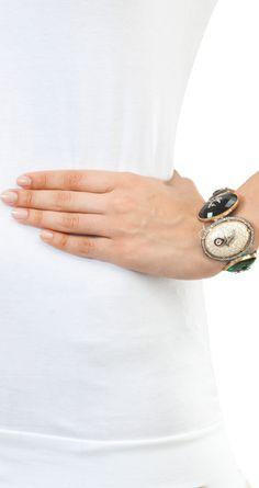Multi coloured semi precious stones bracelet by ROHITA AND DEEPA. Shop at http://www.perniaspopupshop.com/whats-new/rohita-and-deepa-6690