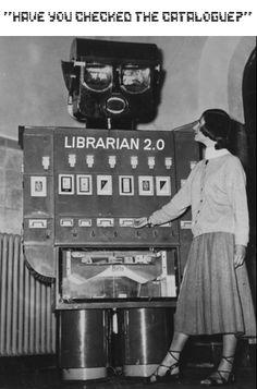 Vintage Library: have you checked the catalogue? Un robot bibliotecario Library Humor, Library Books, Library Cards, Vintage Photographs, Vintage Photos, Science Fiction, Vintage Robots, Vintage Library, Ex Machina