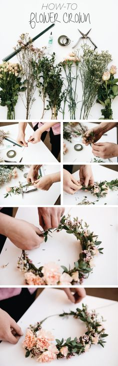 Flower wreath for the hair make yourself: 26 instructions with gerbera, rose and garden flowers – Accessories, DIY – Blumenkranz Diy Wedding Flowers, Diy Flowers, Fresh Flowers, Flowers Garden, Beach Flowers, Flower Diy, Wedding Ideas, Beautiful Flowers, Wedding Photos