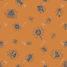 Dessert Seamless Pattern with Modern Flat Elements for Candy Shop, Birthday and Romantic Events. Clean Work. Vector. Retro Color , #spon, #Elements, #Flat, #Shop, #Candy, #Seamless