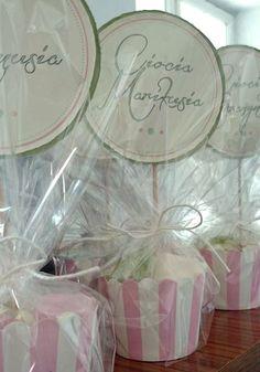 Winietka oraz upominek dla gości z kolekcji Pastelowej na urodzinki lub baby shower.