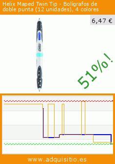 Helix Maped Twin Tip - Bolígrafos de doble punta (12 unidades), 4 colores (Productos de oficina). Baja 51%! Precio actual 6,47 €, el precio anterior fue de 13,08 €. https://www.adquisitio.es/maped/vierfarb-kugelschreiber