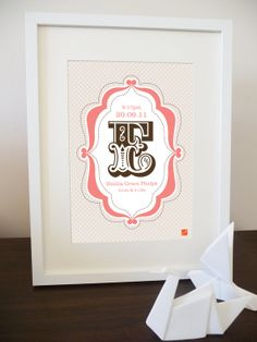 Personalized Childrens Vintage Letter / Initial Art Print for Child Bedroom, Playroom or Baby Girl Nursery