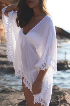 See-Through Lace Edging Half Sleeve Cover-Up WHITE: Swimwear | ZAFUL