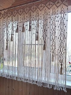 Macrame Curtain / Kitchen Valance / Woven Curtain on Bamboo Rings / Large Wall Hanging / Macrame Win ., Macrame curtain / Kitchen apron / Woven curtain on bamboo rings / Large wall hanging / Macrame window curtain / Ready to ship / Macrame tassels, Macrame Design, Macrame Art, Macrame Projects, Macrame Knots, Macrame Rings, Etsy Macrame, Macrame Mirror, Macrame Wall Hanging Patterns, Macrame Patterns