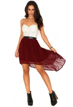Marle Bandeau Lace Asymmetric Dress In Burgundy- dresses- missguided