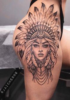 Hip Thigh Tattoos, Hip Tattoos Women, Shoulder Tattoos For Women, Dope Tattoos, Girly Tattoos, Pretty Tattoos, Body Art Tattoos, Sleeve Tattoos, Bull Tattoos