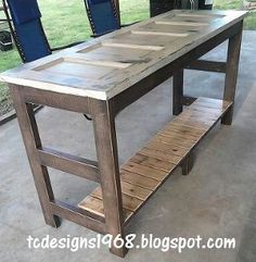 kitchen island made from an old door, carpentry  woodworking, diy renovations projects, repurposing upcycling, Kitchen Island with 1 4 Glass on top for easy cleaning and 24 Bar stools purchased at Walmart