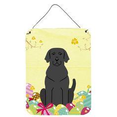 Easter Eggs Black Labrador Wall or Door Hanging Prints, Size: 16, Multi-color