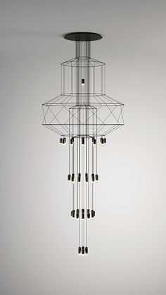 The Wireflow Chandelier hanging lamp is an Arik Levy design for Vibia. Luminaire Design, Lamp Design, Cool Lighting, Modern Lighting, Lighting Stores, Lighting Design, Modern Lamps, Industrial Lighting, Pendant Lamp