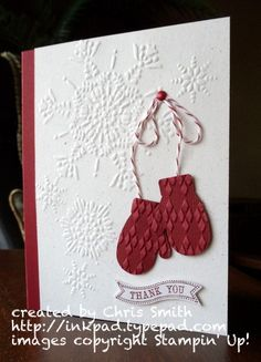 Cherry Argyle Mittens Embossed Card...inkpad,Chris Smith - Cards and Paper Crafts at Splitcoaststampers.