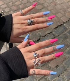 Blue and pink acrylic nails coffin shaped # -. Edgy Nails, Grunge Nails, Stylish Nails, Trendy Nails, Swag Nails, Blue Acrylic Nails, Acrylic Nails Coffin Short, Simple Acrylic Nails, Acrylic Nail Designs