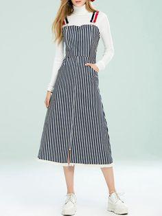 7ff7255ea79d0 Shop Midi Dresses - Dark Blue A-line Cotton Spaghetti Casual Midi Dress  online.