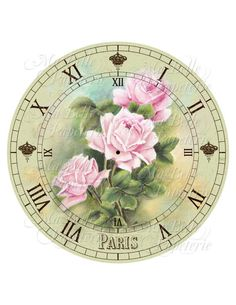 Shabby Chic Clock-DIY French Inspired Clock Face with Pink Victorian Roses Vintage French Posters, Collage Vintage, Shabby Chic Clock, Vintage Shabby Chic, Clock Art, Diy Clock, Victorian Clocks, Clock Printable, Tole Painting Patterns