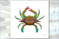 Masterworks Canvas POP ART Maryland Blue Crab by Flick Ford, natural history art, crab painting, bright colors, sea creature, crustacean by FlickFordFishPrints on Etsy https://www.etsy.com/listing/577253189/masterworks-canvas-pop-art-maryland-blue