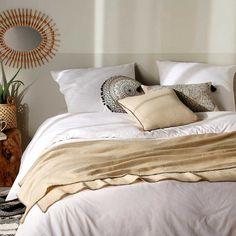 Jeté de lit avec surjet noir (Lin) Terracotta, Decoration, Comforters, Blanket, Bedroom, Design, Furniture, Composition, Home Decor