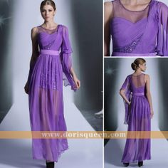 Dorisqueen Light Purple Prom party dresses, Sexy One shoulder Long Cocktail dresses with 2013 New fashion
