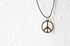 Silver Plated Peace Sign Necklace by d3bz on Etsy, $6.00