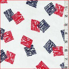 Red/White/Blue Sateen Shirting - FashionFabricsClub.com