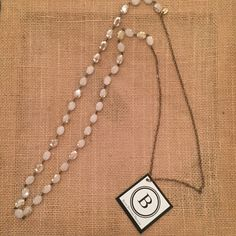 Betsy Pittard Cream Crystals with Oxidized Chain Necklace