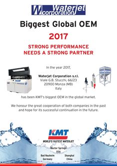 OPS WE DID IT AGAIN! We proudly announce and thank all our Global Team for this 9th CONSECUTIVE year #Award officially received by our #Partner KMT Waterjet Systems for the great performance of 2017! We want to thank KMT for the strong #partnership kept all over all these years of mutual #cooperation.        #OEM2017