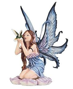 "14.5"" Blue Spring Fairy with Hummingbird Decorative Figurine Fantasy Statue"