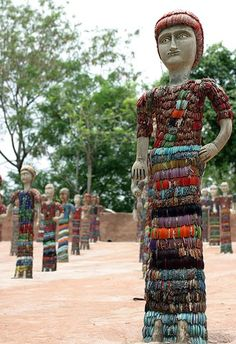 Nek Chand Rock Garden Outsider art bangle mosaic sculpture – Ant Smith Nek Chand worked under cover of darkness for eighteen years, stealing away at the end of his working day as a roads insp…