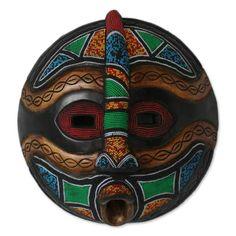 YENDI KING African HAND CARVED BEADED WOOD MASK Novica Wall Decor ART