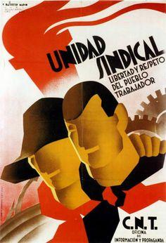 Unidad sindical. Cartel guerra civil española