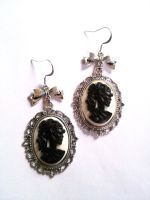 skull lady cameo earrings by GothicLucia