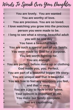 Words to speak over your daughter affirmations for kids, positive affirmations, daughter quotes, Prayers For My Daughter, Letter To Daughter, Daughter Quotes, Child Quotes, Quotes For Daughters, Son Quotes, Family Quotes, Teenage Daughters, Hurt Quotes
