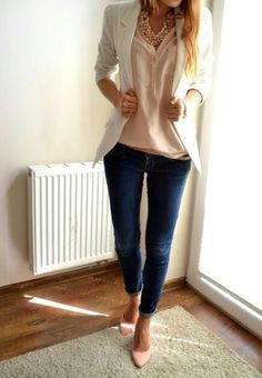 Jeans and nude top with cream blazer