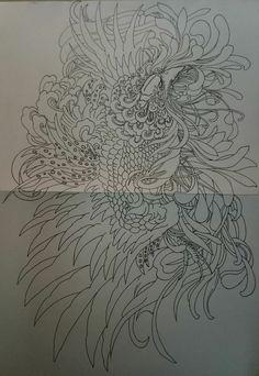 Phoenix Drawing, Phoenix Art, Japanese Phoenix Tattoo, Black Dragon Tattoo, Asian Tattoos, Oriental Tattoo, Fox Tattoo, Body Art Tattoos, Tattoo Inspiration