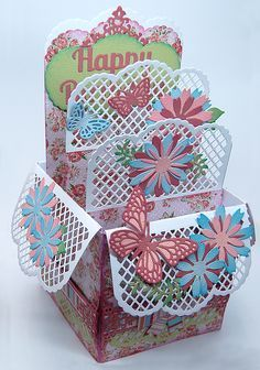 Popping Box Card Template and Trellis Arch and Edge cutting Dies with All Occasion Dies set of 3 x 3 Flowers and Butterflies