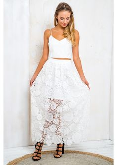 Coconut Creme Brûlée Womens Lace Skirt - White $64.95 - Free Express Shipping White Lace Skirt, White Skirts, Granddaughters, Model, Twin, Coconut, Summer, Free, Lace Up