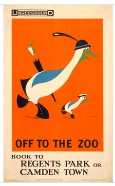 very basic use of colour but interesting imagery of the ducks using a orange border to separate it from the rest of the poster theres the 1910's london underground logo in the top corner but again basic text within the border around the image and then using a serif one for the location