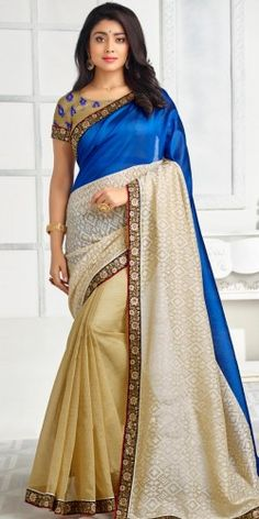 Stunning Navy Blue And Cream Pure Silk Saree With Blouse.