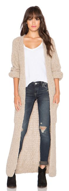 Abeto long cardigan by AYNI. 100% alpaca. Dry clean only. Open front. Front patch pockets. AYNR-WK1. ABETO. Created out of a c...