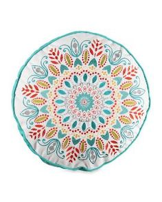 """Embroidered Medallion Decorative Pillow - 18"""""""
