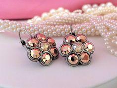 Modern Metallic's, Swarovski Crystal Lever Back Flower Earrings, Metallic Rose Gold, Golden Shadow, DKSJewelrydesigns, FREE SHIPPING.