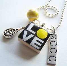 ONE Custom Designed SCRABBLE Tile PENDANT and Chain by BusyBree