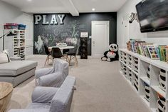 30 Best Playroom Ideas for Small and Large Spaces PLAYROOM IDEAS – Making your kids happy does not mean that you have to bring to an amusement park Loft Playroom, Toddler Playroom, Playroom Design, Playroom Decor, Children Playroom, Small Kids Playrooms, Boys Playroom Ideas, Bonus Room Playroom, Kids Playroom Storage