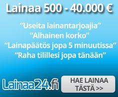 Etsitkö lainaa 500 - 40 000€ ja olet sitä mieltä, että lainapalvelun tehtävänä on hankkia sinulle hakuhetken halvin laina ilmaiseksi?  Siis paras korko! Ajatteletko, että tämä on lainapalvelun tärkein tehtävä, koska edullisuus on lainan tärkein ominaisuus? Hyvä, uusi lainanvälittäjä Lainaa24.fi ajattelee samalla tavalla. Voit myös yhdistää lainasi! Lue lisää...!