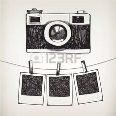 Vector hand drawn doodle illustration of retro photo frame and camera. Hanging photos in a photo studio. - Vector hand drawn doodle illustration of retro photo frame and camera hanging photos in af - Pencil Art Drawings, Cool Art Drawings, Doodle Drawings, Art Drawings Sketches, Easy Drawings, Doodle Illustrations, Tumblr Drawings, Cool Sketches, Camera Sketches