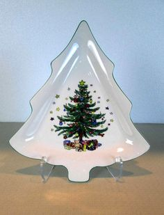 Nikko Christmastime Candy Nut Dish Christmas Tree-shape 9\  With Original Box & Nikko Christmastime at Replacements Ltd | Christmastime by Nikko ...