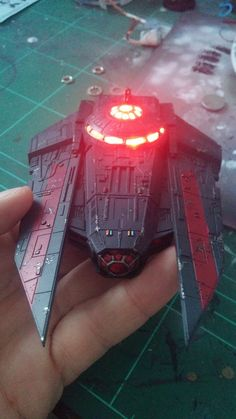 painting and lighting (VT-49) - posted in X-Wing: Good mornig!   Ill show you my latest creation, a painted and illuminated decimator.   Ive painted using an airbrush and then with mask Ive painted the red lines. Using a sponge Ive recreated the rust and damage effect on the hull.   For the lighting process Ive used a high brightness leds to recreate the cockpit and engine light effect. Everybody can do that, Im not an electric genius so if I can do it sure its no difficult...
