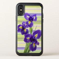 Beautiful Purple Lilac Irises Watercolor Painting Speck iPhone X Case -nature diy customize sprecial design